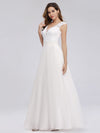 V Neck Floor Length Lace Wedding Dress-White  3