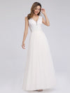 V Neck Floor Length Lace Wedding Dress-White  4