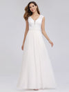 V Neck Floor Length Lace Wedding Dress-White 1