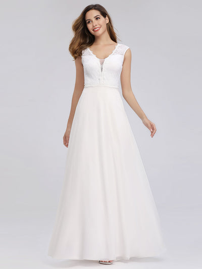 V Neck Floor Length Lace Wedding Dress
