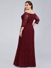 Women'S Off The Shoulder Floral Lace Bridesmaid Dress Plus Size-Burgundy 2
