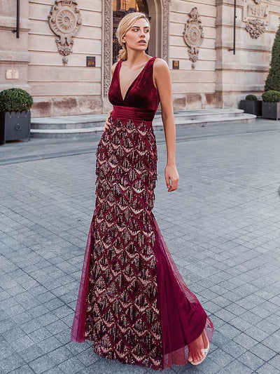 Double V Neck Fringed Beaded Fishtail Evening Dress