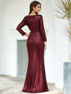 Shiny V Neck Long Sleeve Sequin Evening Party Dress-Burgundy 2