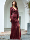 Shiny V Neck Long Sleeve Sequin Evening Party Dress-Burgundy  3
