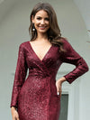 Shiny V Neck Long Sleeve Sequin Evening Party Dress-Burgundy 5