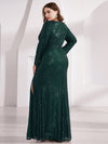 Plus Size Shiny V Neck Long Sleeve Sequin Evening Party Dress-Dark Green 2