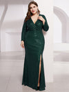 Plus Size Shiny V Neck Long Sleeve Sequin Evening Party Dress-Dark Green 3