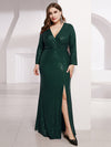 Plus Size Shiny V Neck Long Sleeve Sequin Evening Party Dress-Dark Green 4