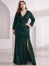 Plus Size Shiny V Neck Long Sleeve Sequin Evening Party Dress-Dark Green 1