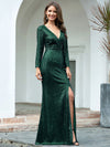 Shiny V Neck Long Sleeve Sequin Evening Party Dress-Dark Green 3