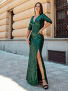 Shiny V Neck Long Sleeve Sequin Evening Party Dress-Dark Green 10