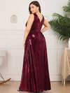 Plus Size Gorgeous Double V Neck Sleeveless Sequin Dress-Burgundy 2