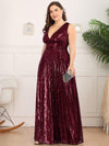 Plus Size Gorgeous Double V Neck Sleeveless Sequin Dress-Burgundy 3