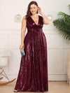 Plus Size Gorgeous Double V Neck Sleeveless Sequin Dress-Burgundy 4