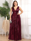 Plus Size Gorgeous Double V Neck Sleeveless Sequin Dress-Burgundy 1