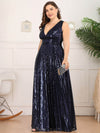 Plus Size Gorgeous Double V Neck Sleeveless Sequin Dress-Navy Blue 3