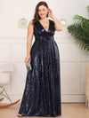 Plus Size Gorgeous Double V Neck Sleeveless Sequin Dress-Navy Blue 4