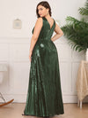 Plus Size Gorgeous Double V Neck Sleeveless Sequin Dress-Olive Green 2