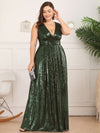 Plus Size Gorgeous Double V Neck Sleeveless Sequin Dress-Olive Green 4