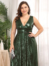 Plus Size Gorgeous Double V Neck Sleeveless Sequin Dress-Olive Green 5