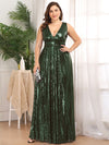 Plus Size Gorgeous Double V Neck Sleeveless Sequin Dress-Olive Green 1
