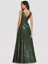 Gorgeous Double V Neck Sleeveless Sequin Dress-Olive Green 2