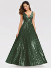 Gorgeous Double V Neck Sleeveless Sequin Dress-Olive Green 3