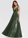 Gorgeous Double V Neck Sleeveless Sequin Dress-Olive Green 4