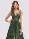Gorgeous Double V Neck Sleeveless Sequin Dress-Olive Green 5
