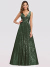 Gorgeous Double V Neck Sleeveless Sequin Dress-Olive Green 1