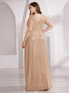 Plus Size Gorgeous Double V Neck Sleeveless Sequin Dress-Rose Gold 2