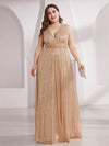 Plus Size Gorgeous Double V Neck Sleeveless Sequin Dress-Rose Gold 1