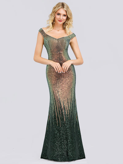 Gradient Off Shoulder Floor Length Sequin Evening Dress