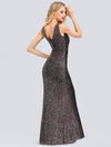 Women'S V-Neck Sleeveless Sequin Dress Bodycon Evening Dress-Multicolor 4