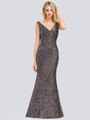Women'S V-Neck Sleeveless Sequin Dress Bodycon Evening Dress-Multicolor 3