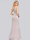 Women'S V-Neck Sleeveless Sequin Dress Bodycon Evening Dress-Pink 6