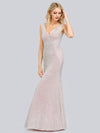 Women'S V-Neck Sleeveless Sequin Dress Bodycon Evening Dress-Pink 7