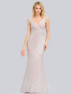 Women'S V-Neck Sleeveless Sequin Dress Bodycon Evening Dress-Pink 8
