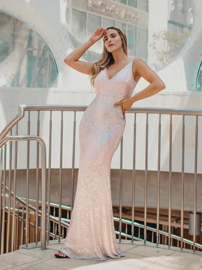 Women's V-Neck Sleeveless Sequin Dress Bodycon Evening Dress