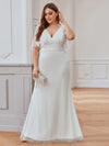 Plus Size Deep V Neck Shiny Fishtail Evening Dresses-Cream 3
