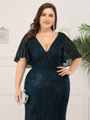 Plus Size Deep V Neck Shiny Fishtail Evening Dresses-Dusty Navy 5