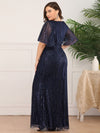 Deep V Neck Shiny Fishtail Evening Dress With Flutter Sleeves-Navy Blue 7