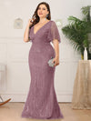 Plus Size Deep V Neck Shiny Fishtail Evening Dresses-Purple Orchid 3