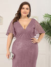 Plus Size Deep V Neck Shiny Fishtail Evening Dresses-Purple Orchid 5