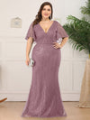 Plus Size Deep V Neck Shiny Fishtail Evening Dresses-Purple Orchid 1