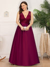Deep V Neck Floor Length Plus Size Sparkly Evening Gown Dresses-Burgundy 4