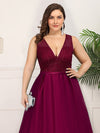 Deep V Neck Floor Length Plus Size Sparkly Evening Gown Dresses-Burgundy 5