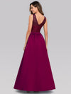 Elegant Deep V Neck Floor Length Evening Dress-Burgundy 2