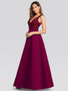 Elegant Deep V Neck Floor Length Evening Dress-Burgundy 3
