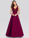 Elegant Deep V Neck Floor Length Evening Dress-Burgundy 4